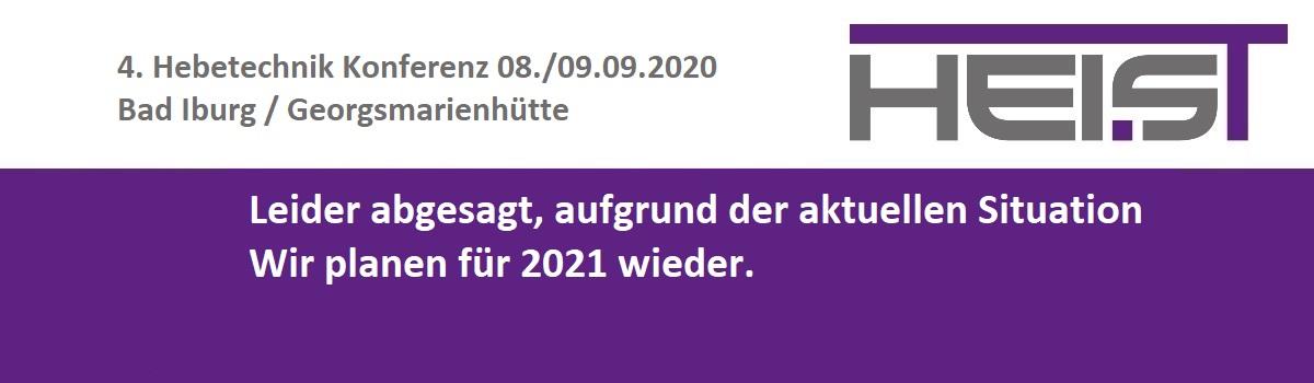 4. Hebetechnik - Konferenz 08./09.09.2020 leider abgesagt